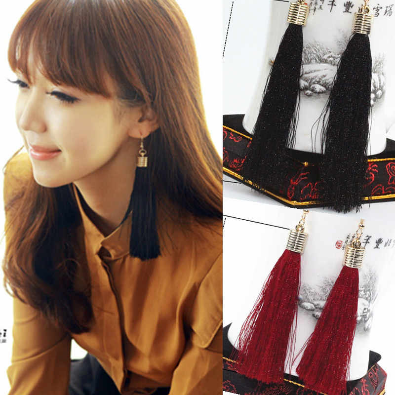2017 New Hot Vintage Black Tassel Drop Earrings earrings tassel long Drop Big Earrings Female jewelry wholesale e0163