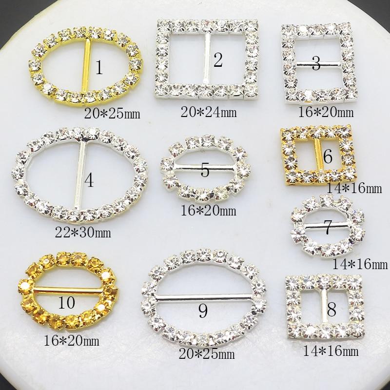 ZMASEY 10 Size Metal Buckles 10Pcs/Lot Crystal Buckles Diamond For DIY Weddding Handwork Card  Ribbon Accessories Decoration