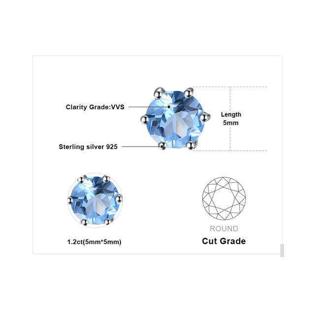 JewelryPalace Natural Blue Topaz Earrings Stud Genuine 925 Sterling Silver Jewelry New Women Jewelry Outstanding Fine Jewelry