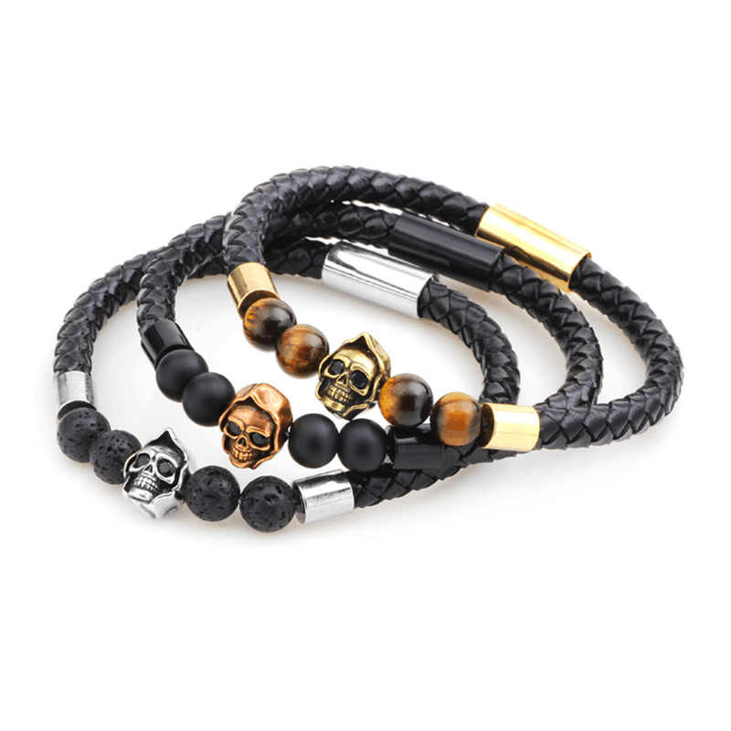 Stainless Steel Chain Genuine Leather Bracelet Natural Stone Bracelet Skull Beads Bangle Male Braid Jewelry For Women Pulseiras