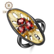 GEMS BALLETT 925 Sterling Silber Edelsteine Ring 1.54Ct Natürliche Rote Granat Original Handgemachte Zitrone Finger Ringe für Frauen