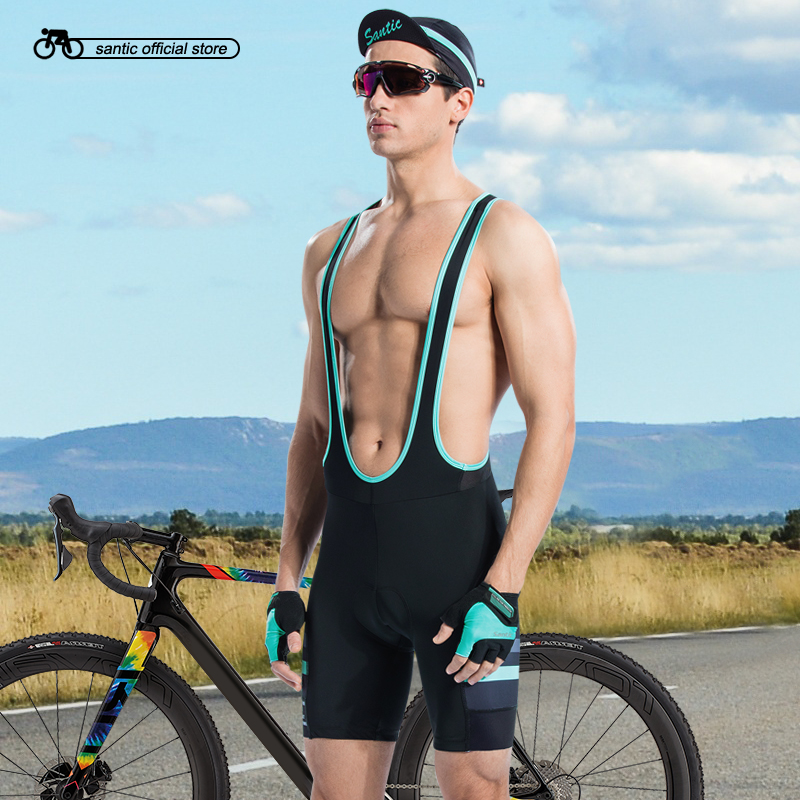 Santic Men Cycling Padded Bib Shorts Pro Fit Summer Shockproof 4D Pad Road MTB Bicycle Riding