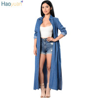 HAOYUAN 2017 New Long Sleeve Denim Shirt Women Tops Casual Long Blusas Summer Kimono Cardigan Loose