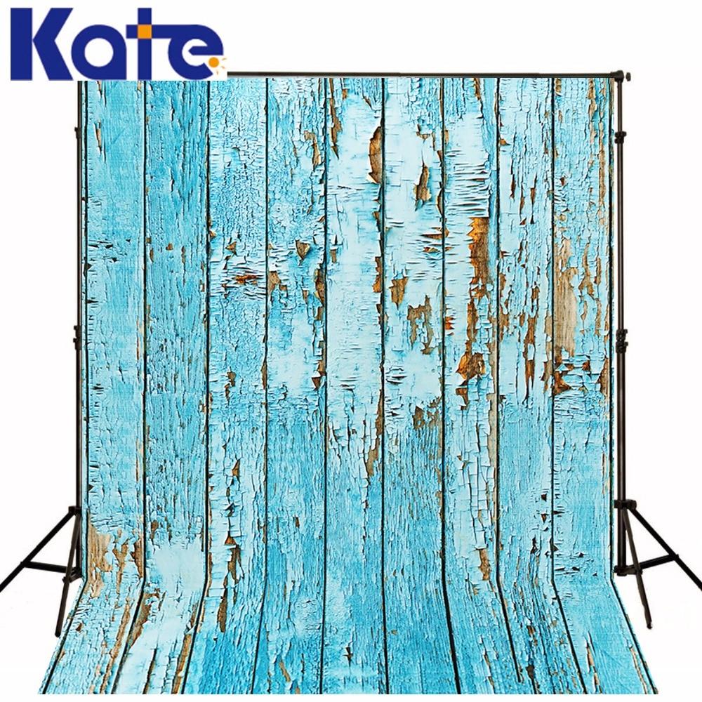Kate Wood Floor Wall Photography Backdrops Background Blue Wood Newborn Photography Background Seamless Photo For Studio Custom