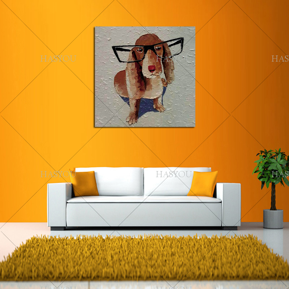 aliexpress com buy hand paint wall art home decor animal dog oil