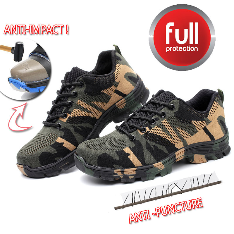 Safety Work Puncture-Proof Shoes Boots With Steel Toe Cap Camo Breathable Mesh Casual Shoe Labor Sneakers Mens