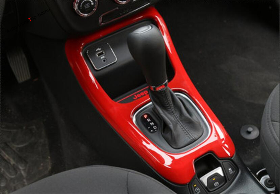 Fit for Jeep Compass 2017-2018 Red ABS Interior Gear Shift Frame Cover Trim