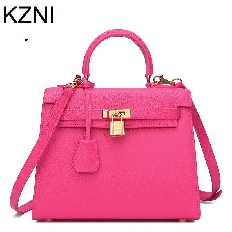 KZNI genuine leather bags ladies hand designer ladies bags famous brand women bags 2017 bolsa feminina de marca famosa L022118