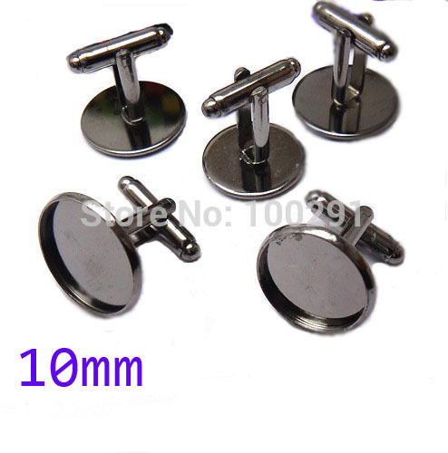 Cuff-Links Blank Tone French Round Bulk for Clothing Findings MN-3043 200pieces-Gunmetal