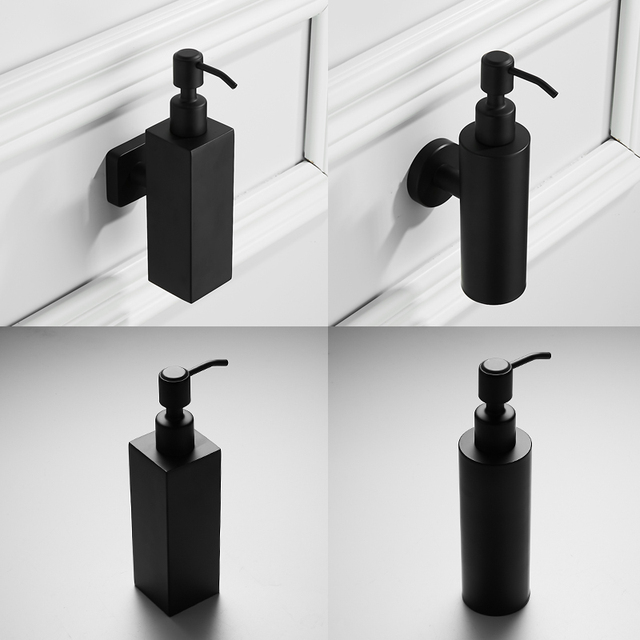 304 Stainless Steel Brushed Polished Black Soap Lotion Dispenser Washing Up Liquid Pump Action Worktop