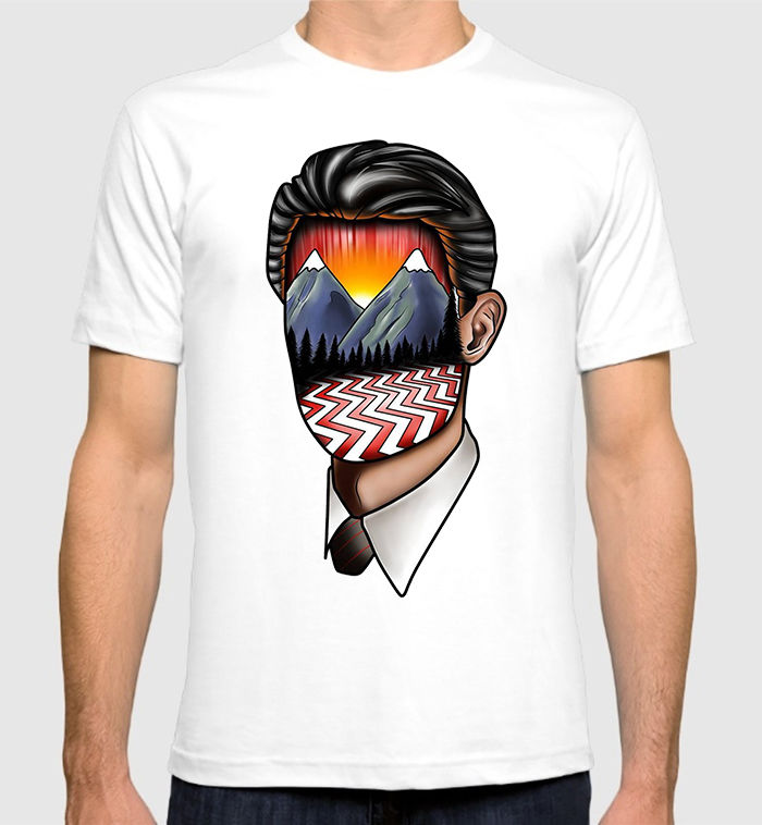 Twin Peaks Dale Cooper Art T-Shirt David Lynch Mens Tee Print Tee Men Short Sleeve Clothing TOP TEE