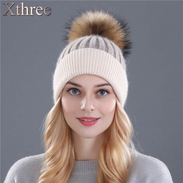 Xthree зимняя шерсть вязаная шапка шапочки реальная норки pom poms Skullies hat для женщин девушки шляпа feminino