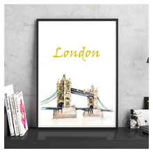 City Landmark Hand Painted London Tower Bridge Vintage Poster Coated Paper Wall Sticker Bar Cafe Pub Living Room House Decor