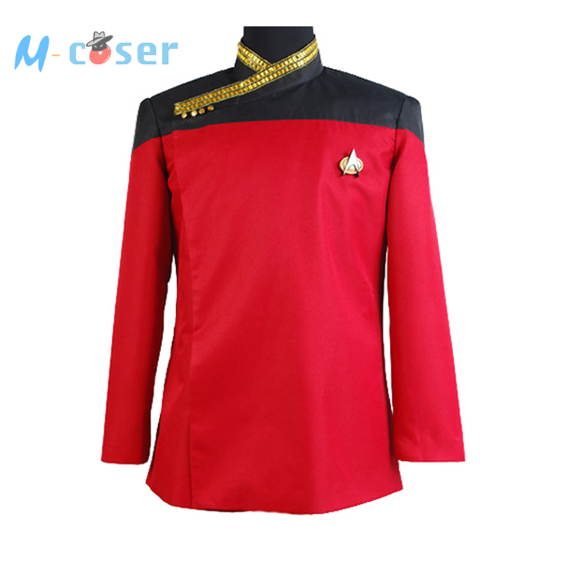 Star Trek TNG Picard Red Uniform Costume Halloween Cosplay Costumes For Men With Badge Tops