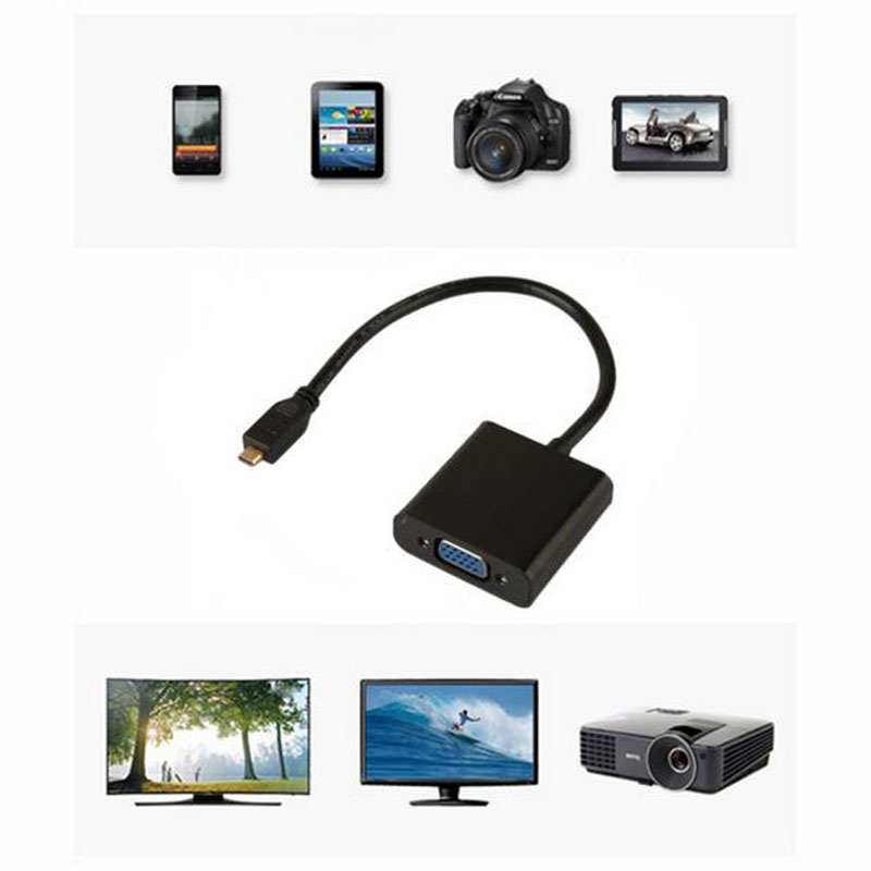 1080P Mini HDMI Male To VGA Female With Audio Video Adapter Cable HDTV
