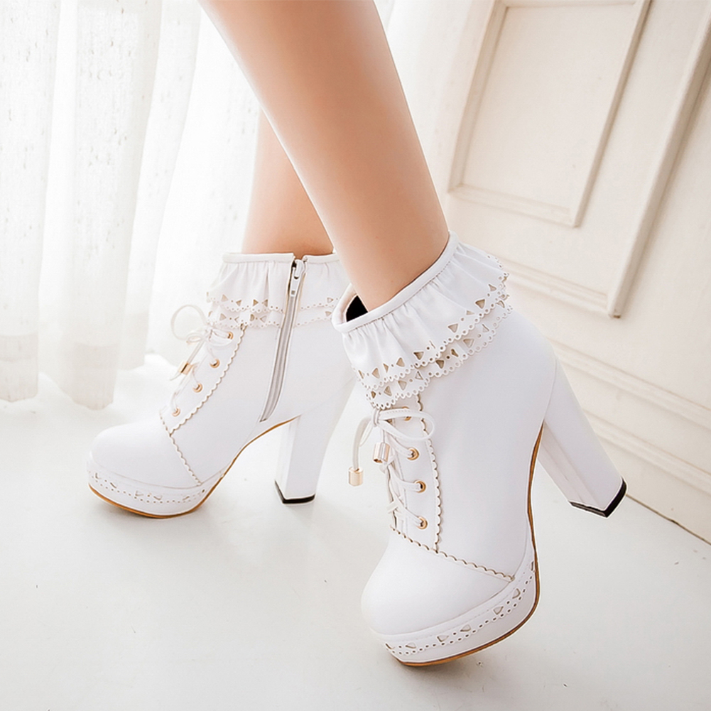 SARAIRIS Women Shoes Platform Ankle-Boots High-Heels Lolita Plus-Size Ladies Lace Cosplay