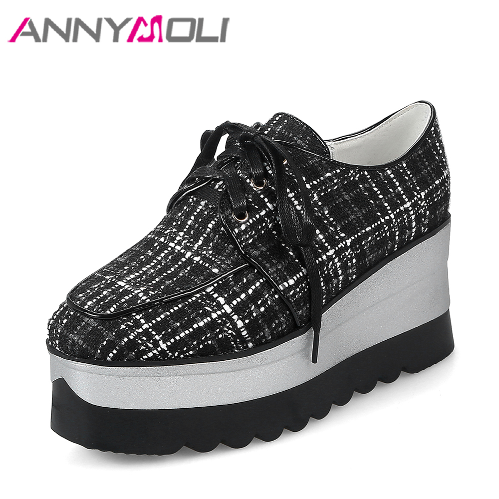 ANNYMOLI Platform Shoes Women High Heels Lace Up Plaid Wedge Heels Square Toe Vintage Causal Shoes Spring Footwear Size 34-39 купить дешево онлайн