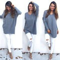 2016 New pullover women O-Neck long-sleeved elastic Casual loose knitted sweater shirt women solid sweaters 5 colors 4 size
