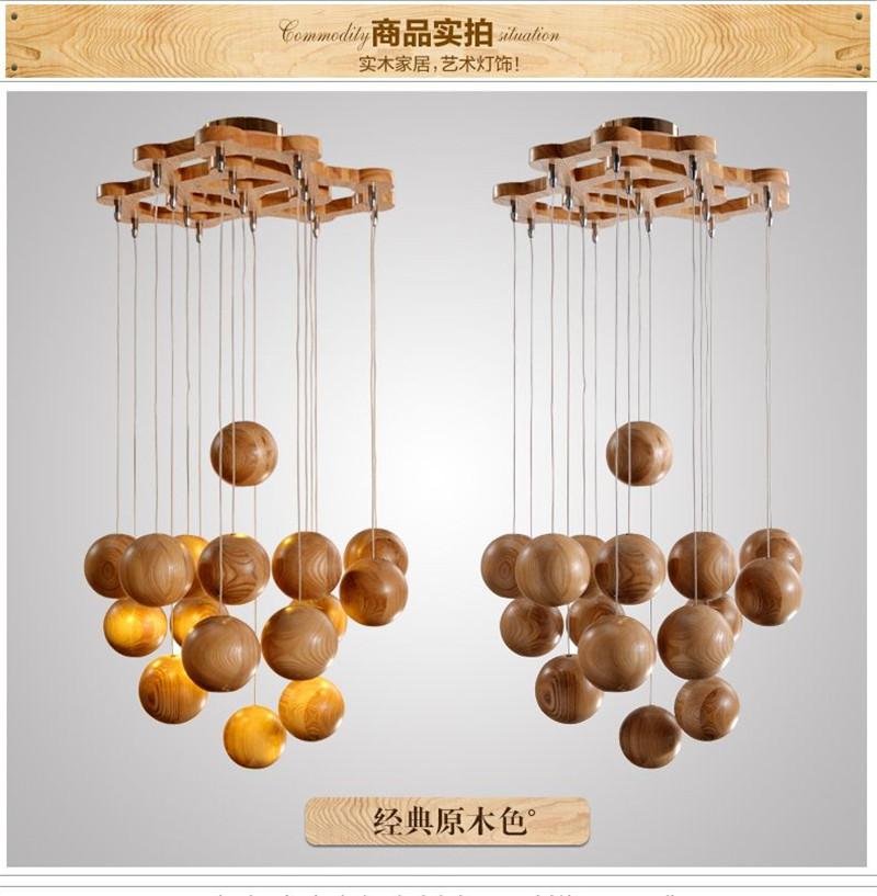 16 Heads Multi Ball Solid Wood Chandelier Modern Chinese Anese Nordic Creative Art Deco Living Room Dining Wooden Pendantlamp In Pendant Lights From