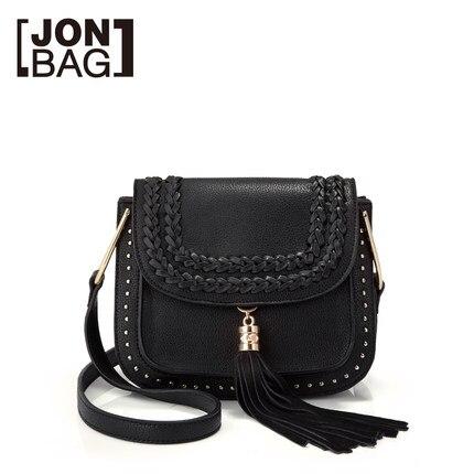 Black Fashion Tassel Women Shoulder Crossbody Bag Small Rivet Saddle S Handbag Brand Designer Office Lady Tote Bags In From Luggage