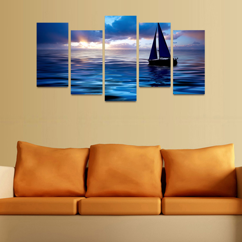 5 Panels Canvas Print Sailboat In Dark Blue Glow Painting for Living ...