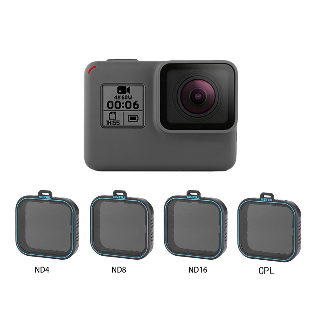 TELESIN 4 Pack Fiter Set ND Lens Protector Filter(ND4 8 16)+ CPL Filter for Gopro Hero 5  6  & 7 Black Hero 7 Camera AccessoreisTELESIN 4 Pack Fiter Set ND Lens Protector Filter(ND4 8 16)+ CPL Filter for Gopro Hero 5  6  & 7 Black Hero 7 Camera Accessoreis
