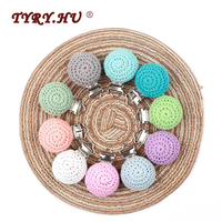 TYRY.HU 50pc Round Crocheted Wooden Clip Baby Teether Pacifier Clip Teething Necklace Rodent DIY Pacifier Chain Tool Free Shipin