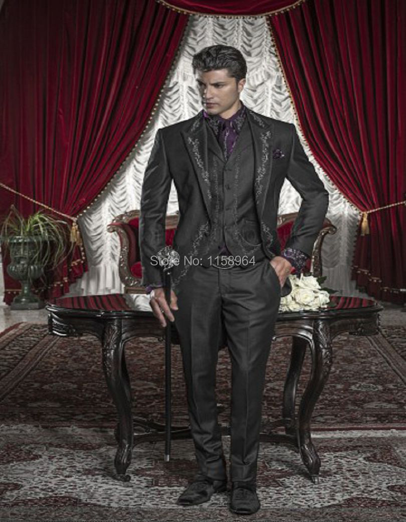 bba3c0f09e Fabric With Silver Tone Embroidery Groom Tuxedos Groomsman Suit Custom Made  Barocco Style Man Suit(jacket+pants+vest)