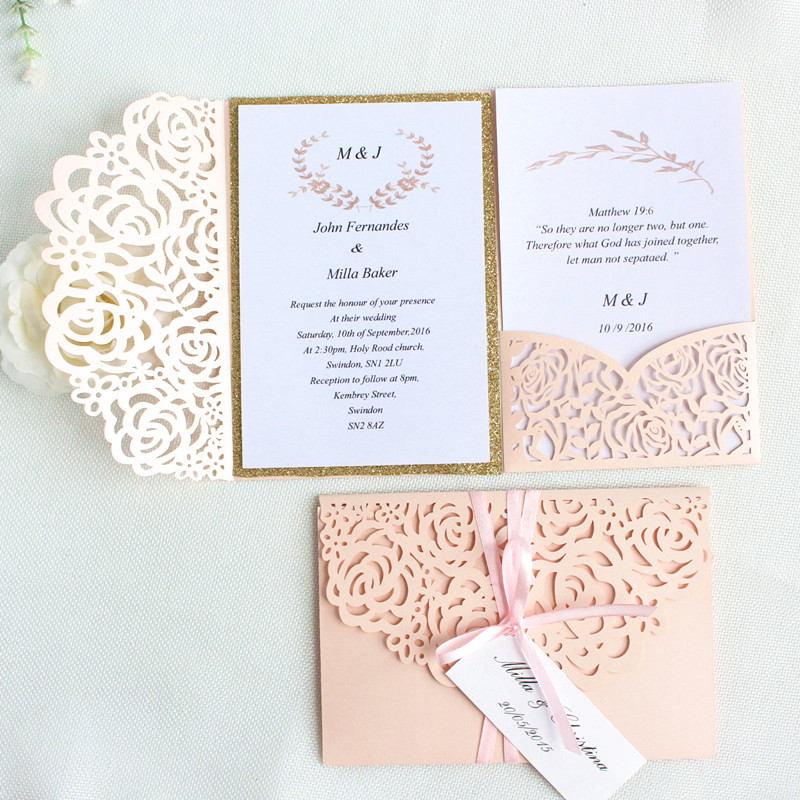 Rose Romantic Wedding Invitation Dirty Pink Spring Glittery Laser Cut Pocket Invite tri fold Free Customized