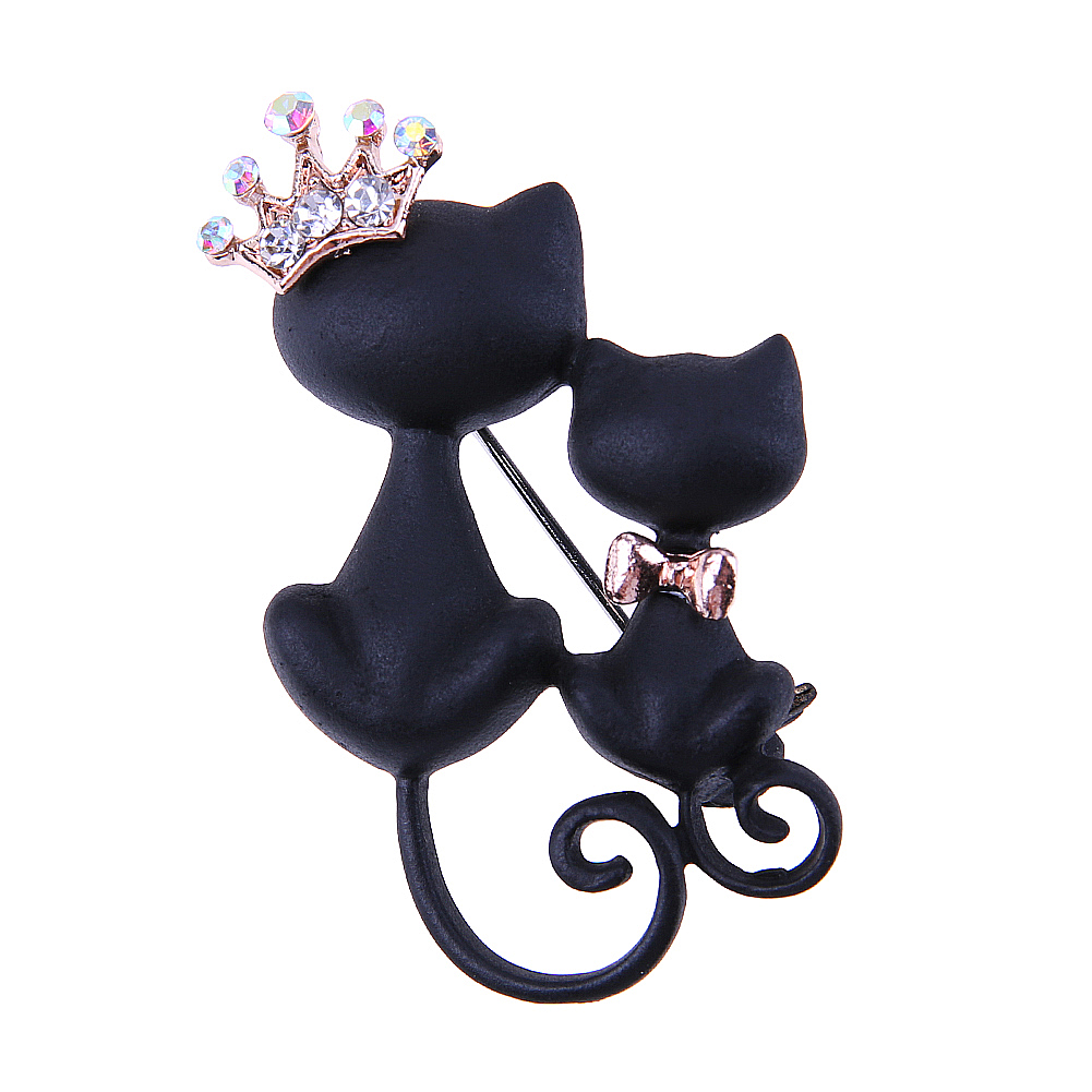 Smooth Black Mother Daughter Cat Brooches Crown Queen Brooch Animal Sweater Decoration Gold-color Women Suit Bow Lapel Pins Gift