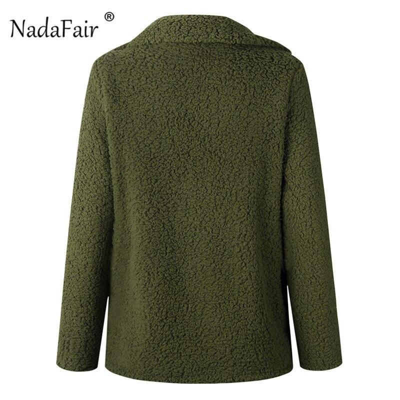 Nadafair plus size fleece faux fur jacket coat women winter pockets thicken teddy coat female plush overcoat casual outerwear 31