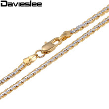 Free Shipping 3/4mm Yellow White Gold Filled Womens Mens Chain Unisex Hammered Braided Wheat Link Wholesale Jewelry Gift LGN328