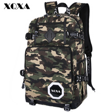 XQXA Fashion men's backpacks army green camouflage backpack cool high school bags for teenagers boys large capacity