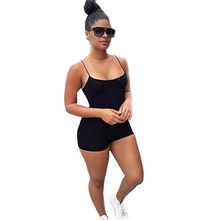 #40 Jumpsuit mujeres 2019 negro mono con tirantes Casual Beach Shorts jumppers body combishort femme(China)