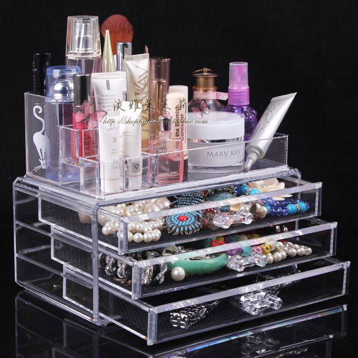Quality transparent desktop cosmetics organizer box storage jewelry