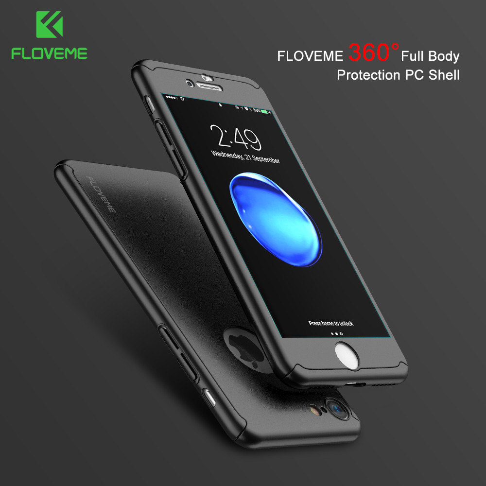 FLOVEME Luxury 360 Plating Plastic Case For iPhone 5 5s SE 6 6s Plus 7 7 Plus Cover Thin Full Coverage Cases Free Tempered Glass