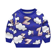Girls boys Kids Baggy Rainbow letter z Sweatshirt Tops Long Sleeve Cloud T Shirt Sweater Cotton Cute Clothes(China)