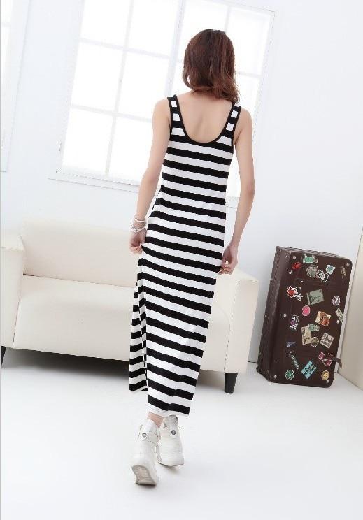 Tingfly Classic Summer Women Midi Sleeveless Vest Dress Casual Long Modal Striped Dress Beach Vestidos Mujer Black White Striped