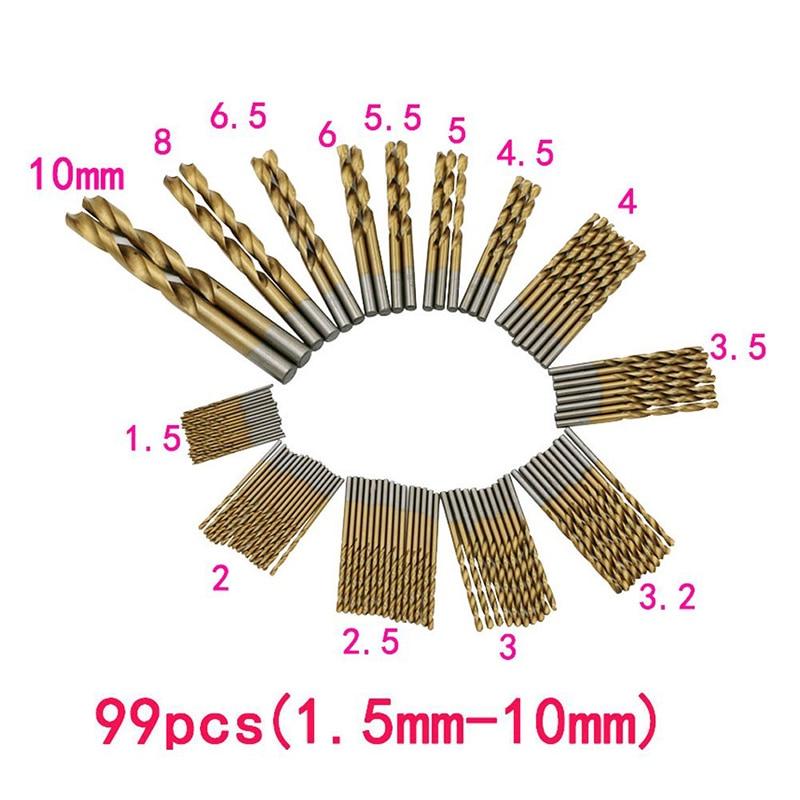New HSS 99 Pcs 1.5mm -10mm Steel Titanium Twist Drill Straight Shank Drill Bit  ALI88 free shipping of 1pc hss 6542 made cnc full grinded hss taper shank twist drill bit 11 175mm for steel