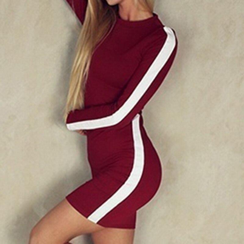 Laamei Long Sleeve Striped Women Dress Fashion Sheath O neck Party Club Bodycon Dresses Vestidos Mini Dresses 2018 Autumn Winter