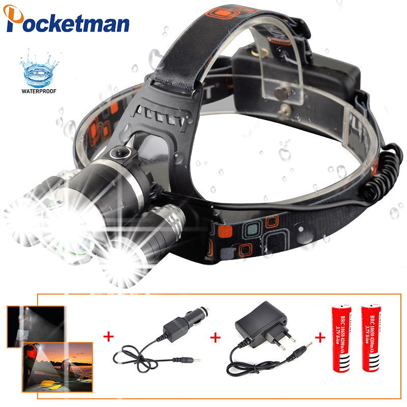 Powerfull Led Headlight Headlamp T6+2R5 Rechargeable Flashlight Head Lamp Light Torch Linterna Led+2*18650 Battery+Car Charger