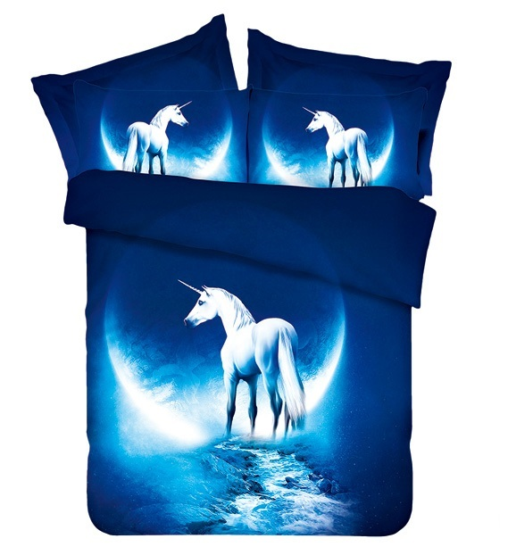 Moon Horse Bedding set California King queen double size fitted bed sheet sheets quilt duvet cover bedspread bedsheet blue 4pcs