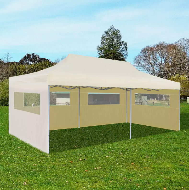 Cream Foldable Pop-Up Party Tent 3x6/3x9 M Stabile Gazebo Weather-Resistance UV Protection Outdoor Tent For BBQs Markets Camping