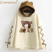 Harajuku Kawaii Bear Print Ear Hoodie Sweatshirt Wo