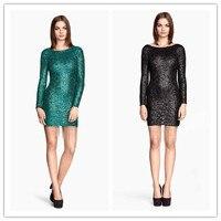 שמלה סקסית חדשה אופנה נשים קצר o - צוואר שרוול הארוך עם נצנצי + רשת שמלת גבירותיי v העמוק סגנון חזרה מועדון השמלה slim mini שמלת