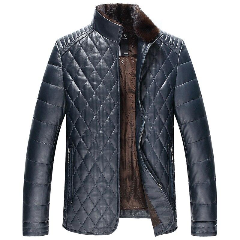 Leather suede sheepskin coat men genuine leather down coat mink fur collar jacket fur down high end quality New Phoenix