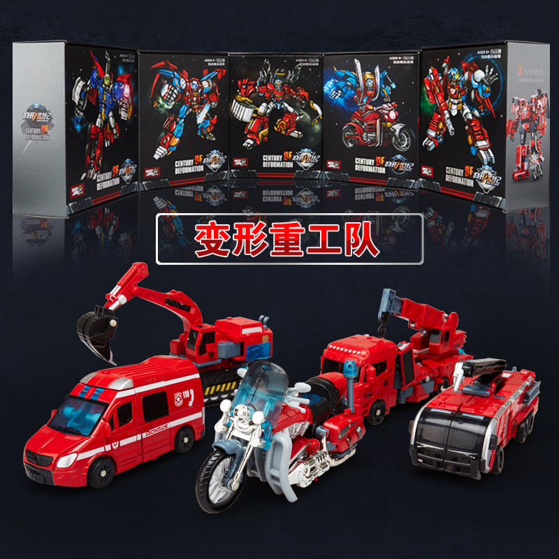 WJ WEI JIANG Alloy Fire Status 5 IN 1 Transformation Motorcycle Extinguishing Crane Truck Ambulance Truck Action Figure Toys