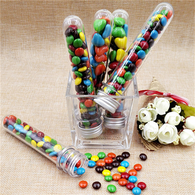 25pcs lot 40ml plastic test tube skittles candy box baby for Home party tube