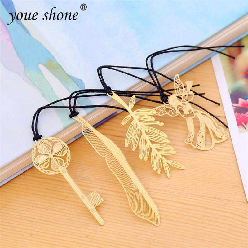 1PCS Creative Mini Bookmark Metal Art Pattern Feather Angel Chinese Wind Classical Bookmarks for book Stationery Office Supplies