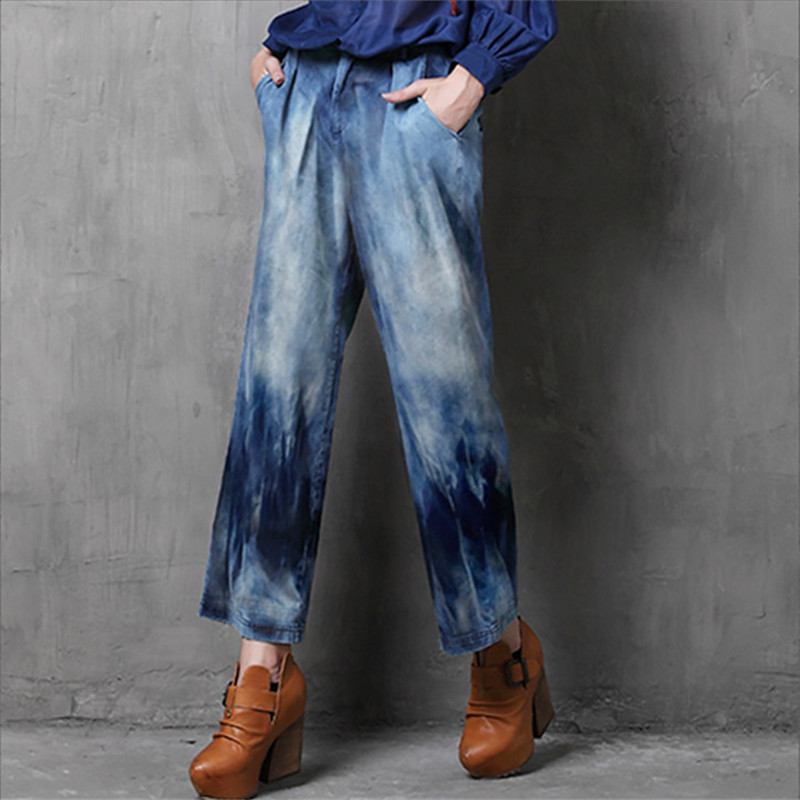 Vintage Women   Jeans   Calca Feminina 2017 Fashion New Denim   Jeans   Tie Dye Washed Loose Zipper Fly Women   Jeans   Wide Leg Pants Woman